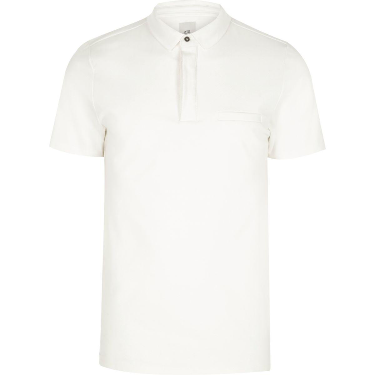 Cream slim fit short sleeve polo shirt