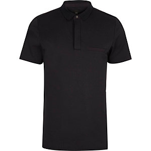 Navy slim fit short sleeve polo shirt