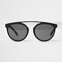 Zwarte ronde zonnebril met neusbrug met rubberlaag