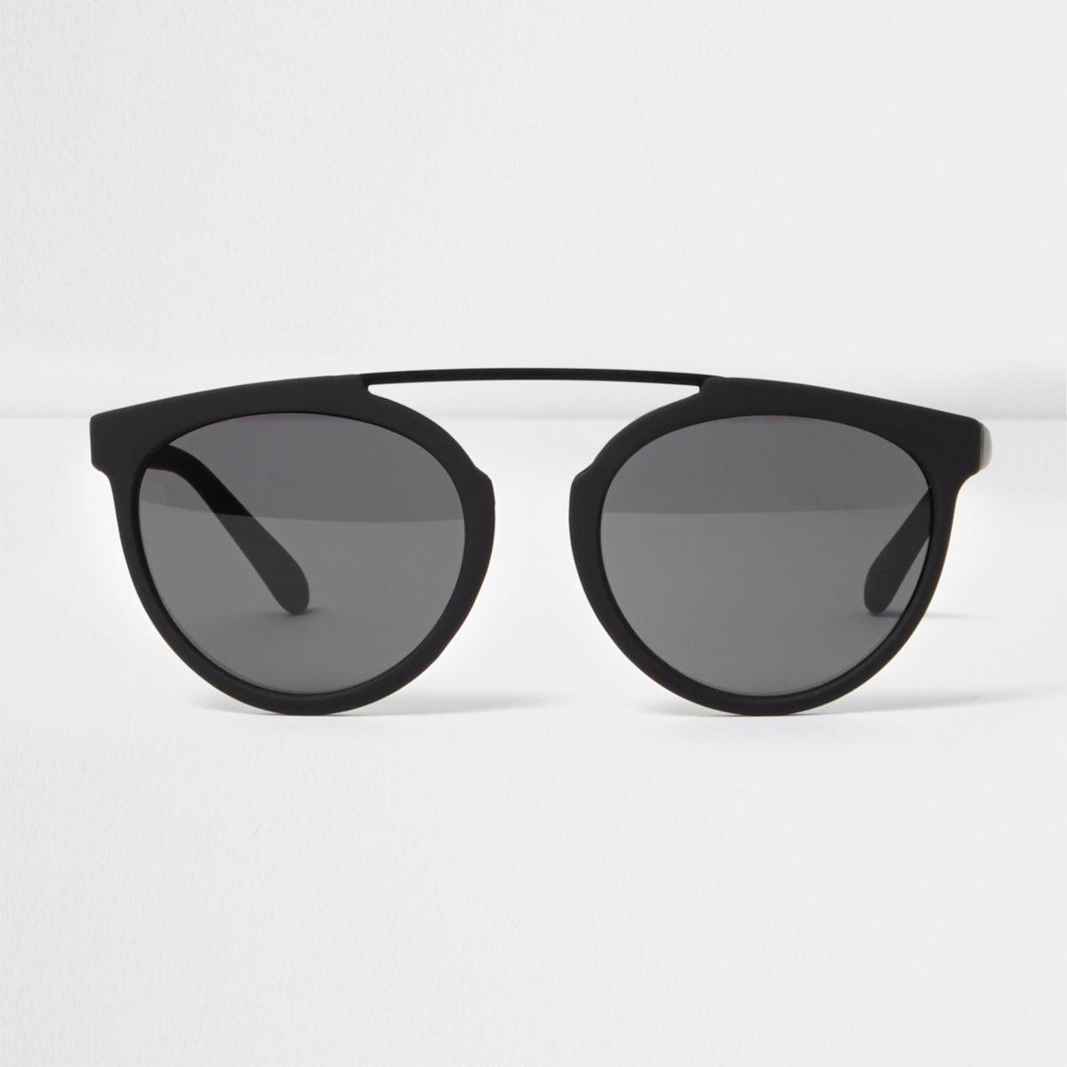 Black rubberised brow bar round sunglasses