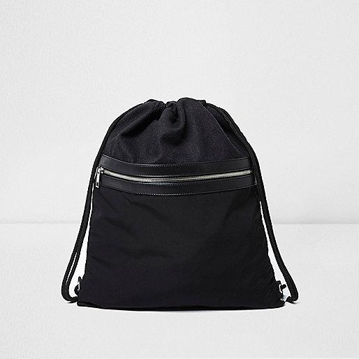 Black mixed texture drawstring backpack