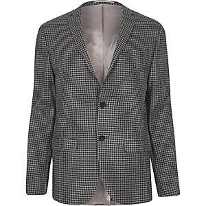 Veste de costume à carreaux grise skinny