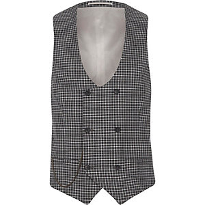 Gilet de costume à carreaux gris