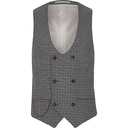Grey check suit waistcoat