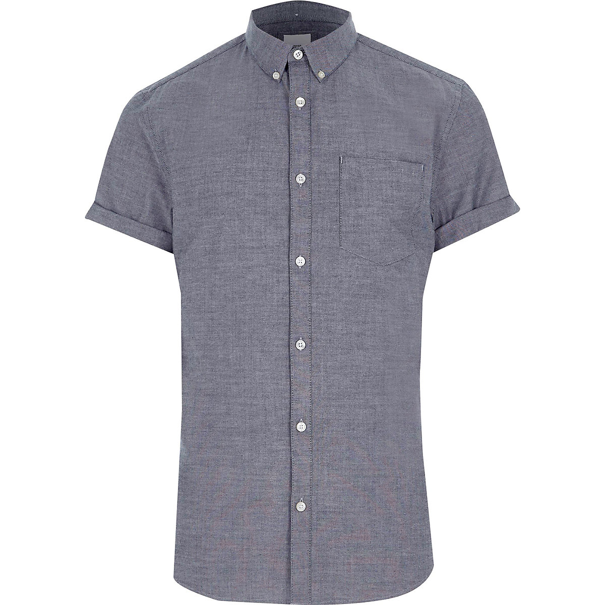 Grey muscle fit short sleeve Oxford shirt