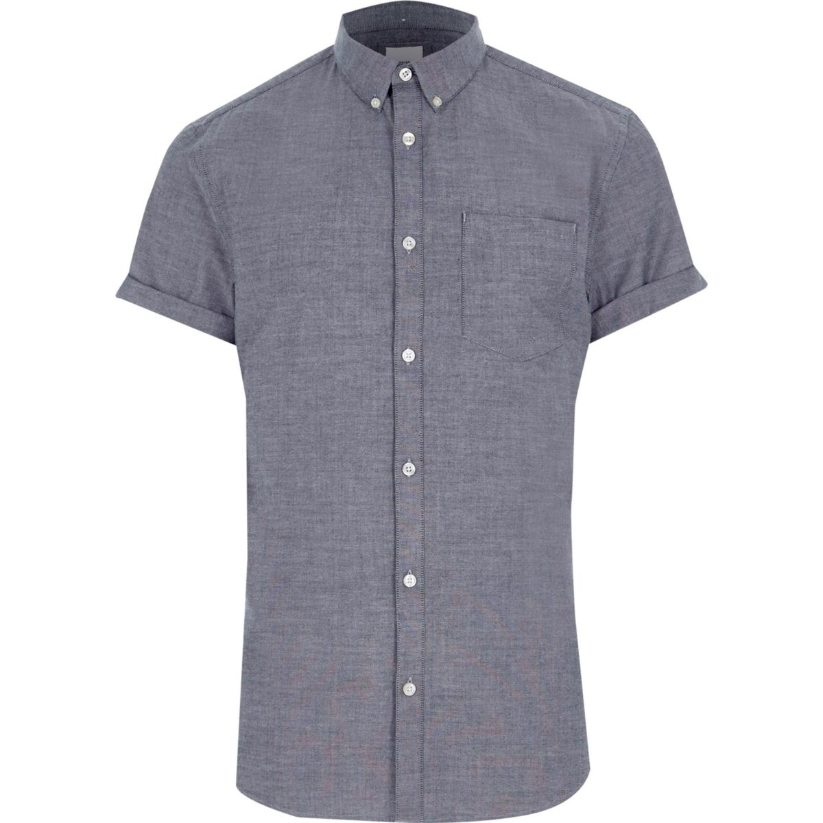 Chemise Oxford ajustée grise à manches courtes