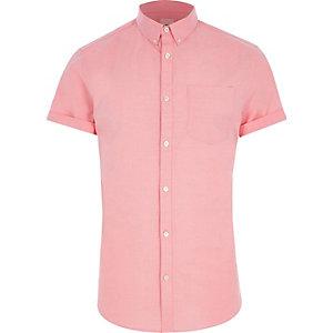 Roze aansluitend Oxford overhemd met korte mouwen