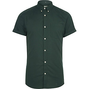 Green muscle fit short sleeve Oxford shirt
