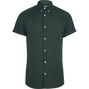 Grünes Muscle Fit Oxford-Hemd mit kurzen Ärmeln