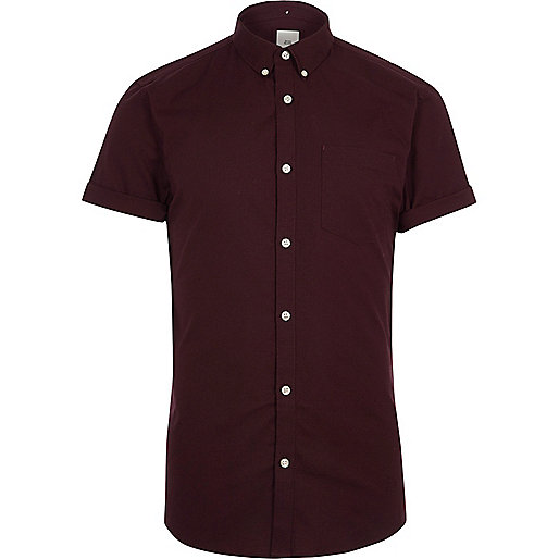 Burgundy muscle fit short sleeve Oxford shirt