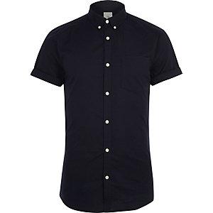 Maineblauw aansluitend Oxford overhemd met korte mouwen
