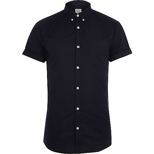 Navy short sleeve muscle fit Oxford shirt