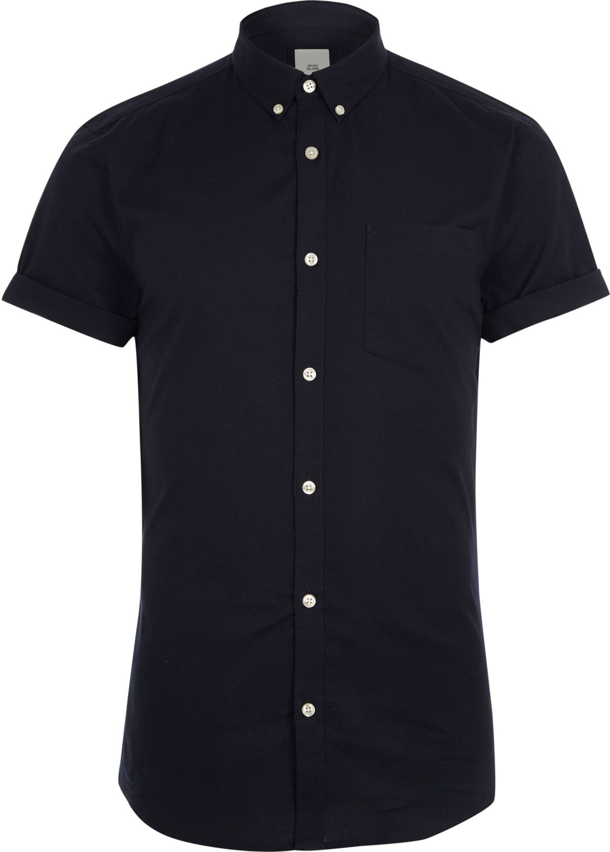 Chemise Oxford ajustée bleu marine à manches courtes