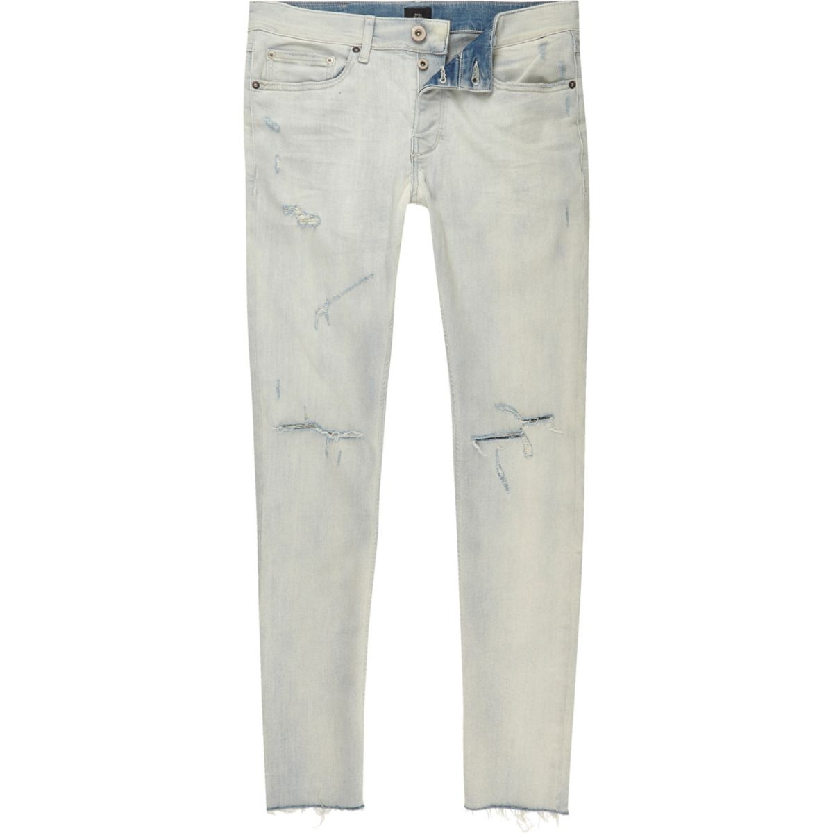 Light blue Sid ripped bleached skinny jeans