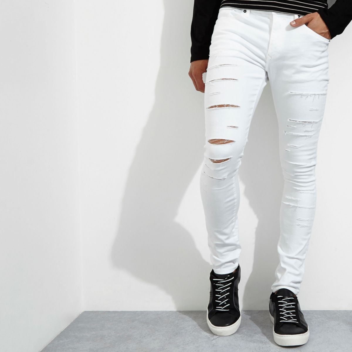 White Danny ripped super skinny jeans