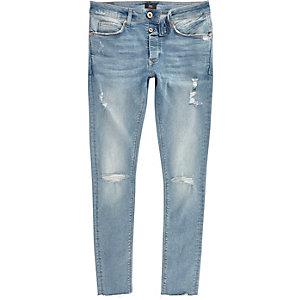 Danny – Blaue Superskinny Jeans im Used-Look