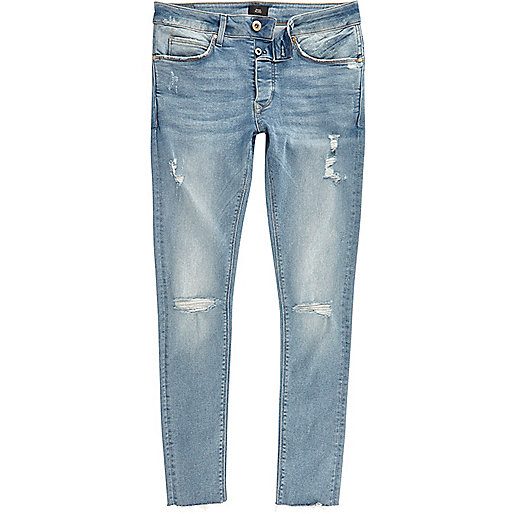 Blue ripped Danny super skinny jeans