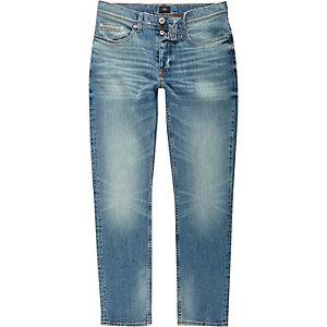 Middenblauwe vervaagde slim-fit jeans