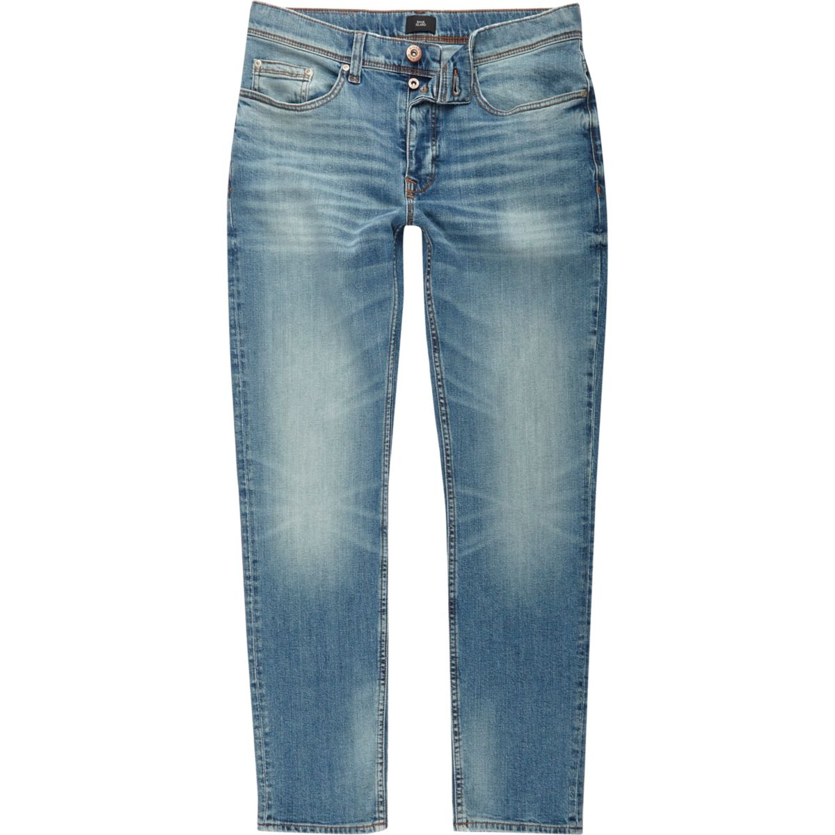 Mid blue fade slim fit jeans