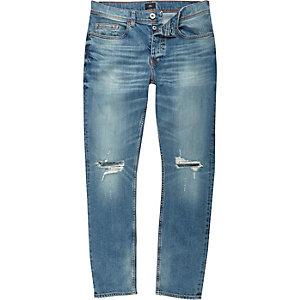 Dylan - Middenblauwe slim-fit jeans met scheur op de knie