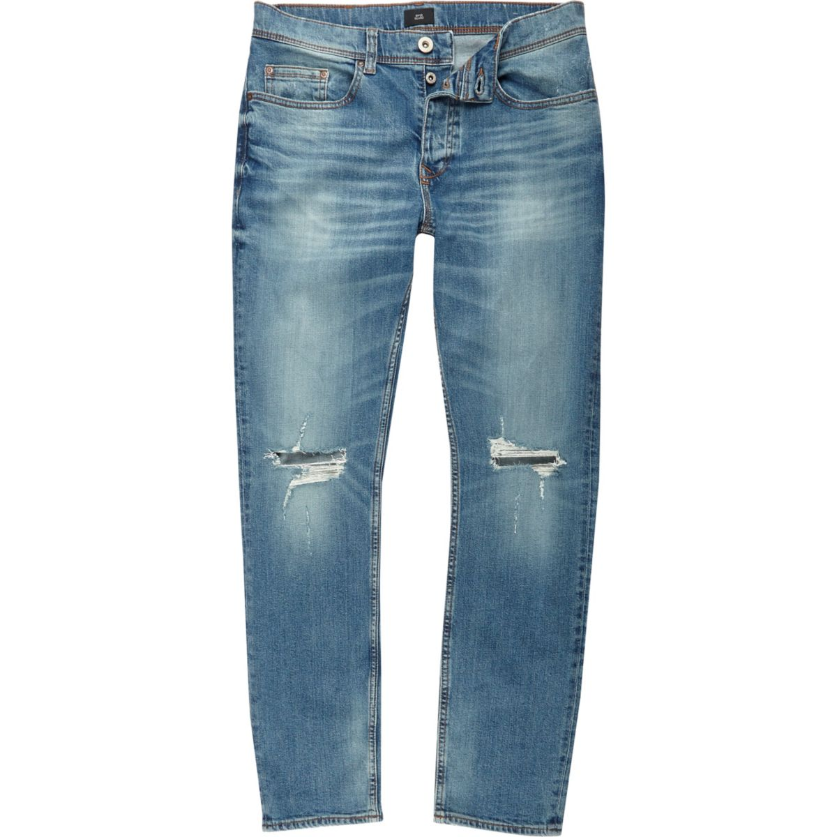 Mid blue ripped knee Dylan slim fit jean