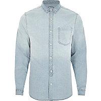 Chemise en jean bleu clair délavée à manches longues