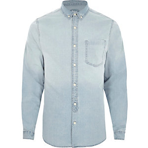 Light blue wash long sleeve denim shirt