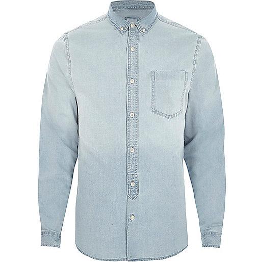 Light blue wash long sleeve denim shirt