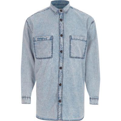 Blauw acid wash oversized denim overhemd