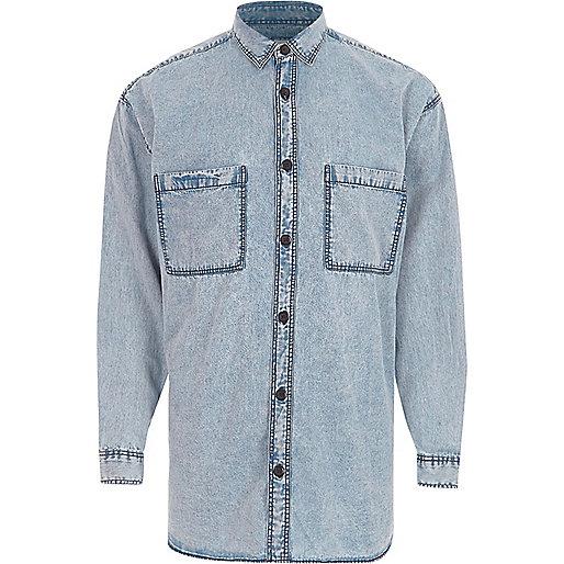 Blue acid wash oversized denim shirt