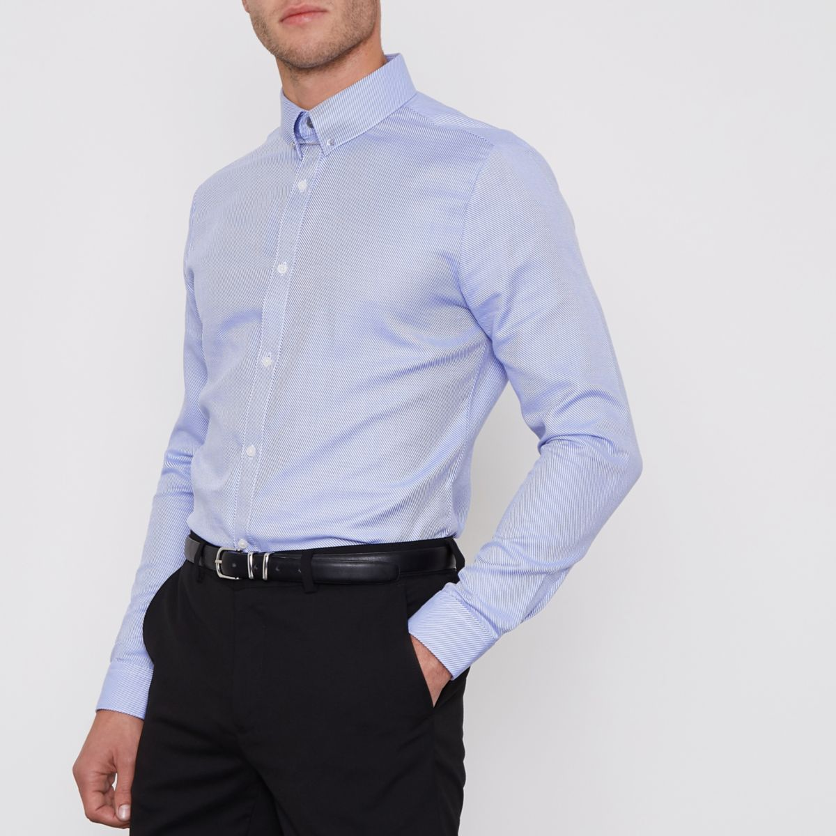 Blue stripe collar bar slim fit shirt