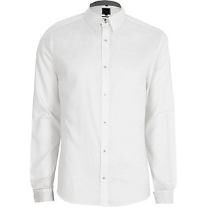 White jacquard slim fit long sleeve shirt