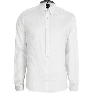 Wit jacquard slim-fit overhemd met lange mouwen