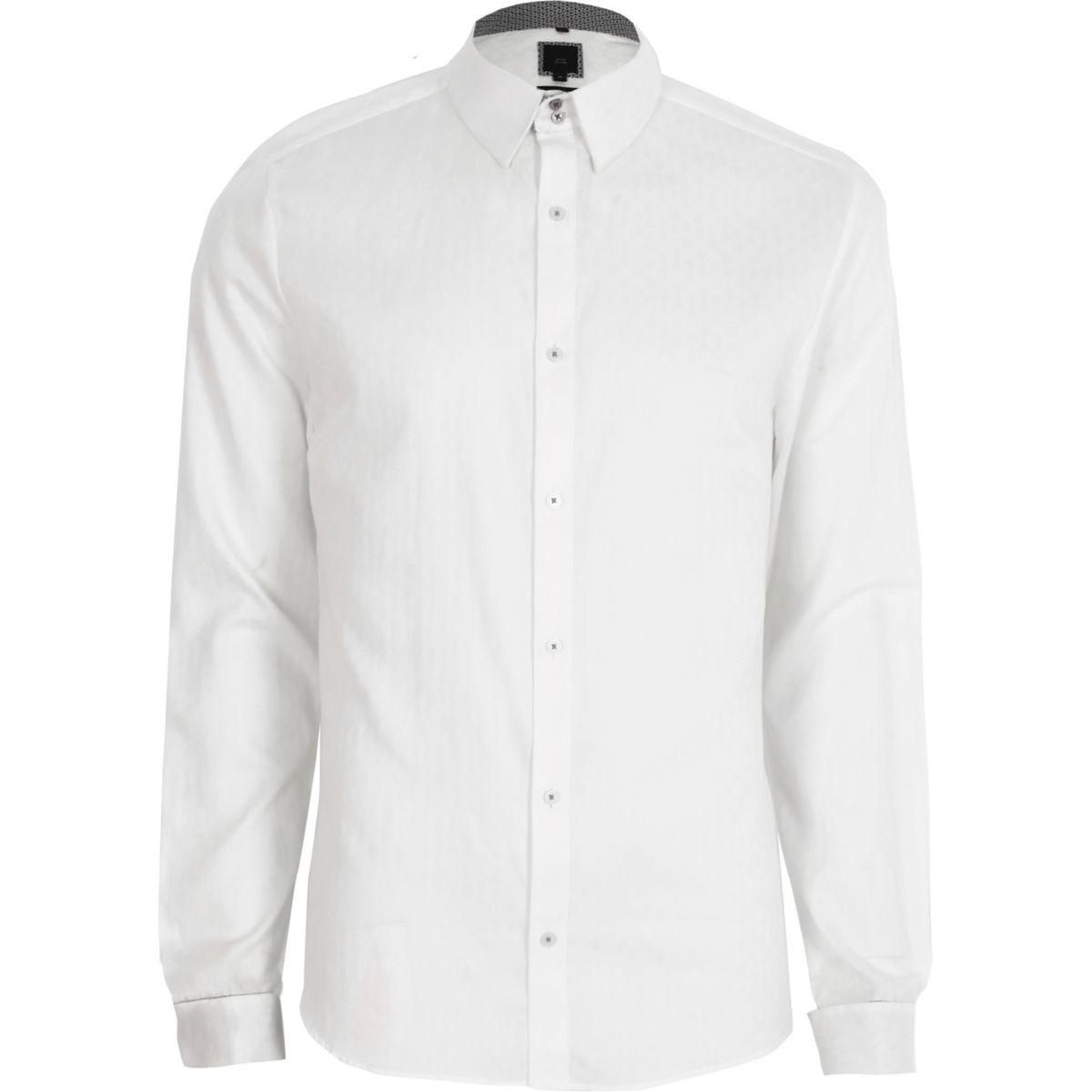White jacquard slim fit long sleeve shirt