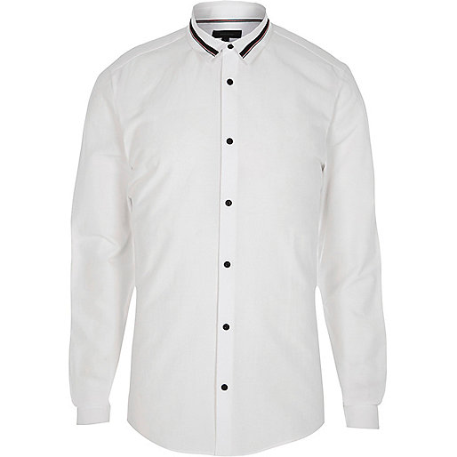 White tape collar slim fit shirt