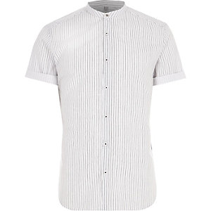 Big and Tall - Crème gestreept overhemd zonder kraag