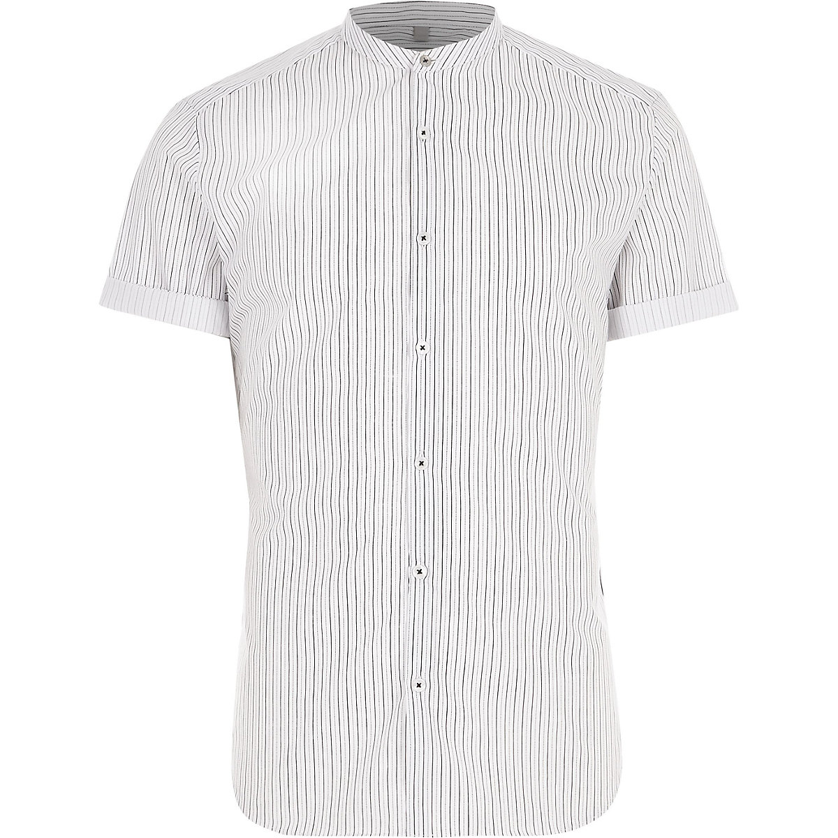 Big and Tall cream stripe grandad shirt