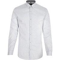 Chemise ajustée rayée blanche à manches longues