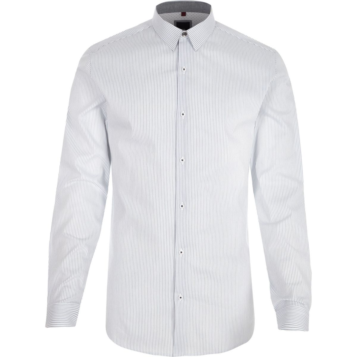 White stripe muscle fit long sleeve shirt