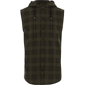 Green check hooded sleeveless shirt
