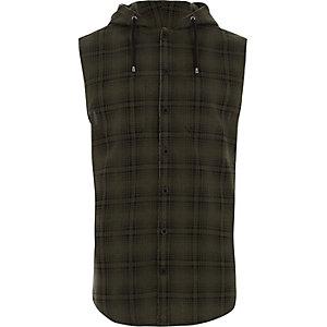 Chemise sans manches à carreaux verte avec capuche