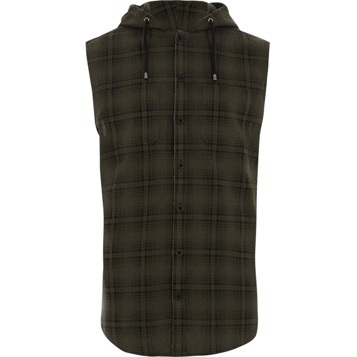 Green check hooded sleeveless shirt