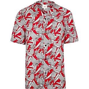 Chemise imprimé ananas rouge à manches courtes et col à revers