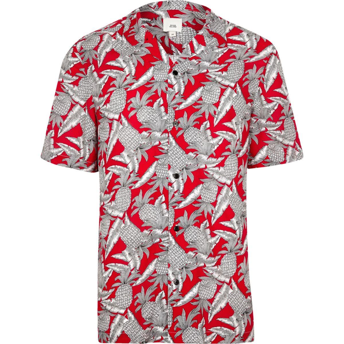 Red pineapple print short sleeve revere shirt