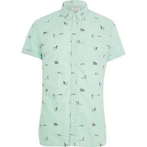 Grünes Slim Fit Kurzarmhemd mit Print