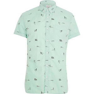 Groen slim-fit overhemd met korte mouwen en strandprint