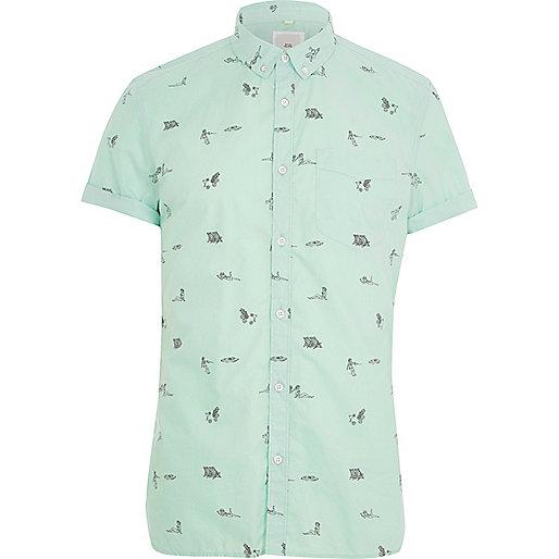 Green beach print slim fit short sleeve shirt