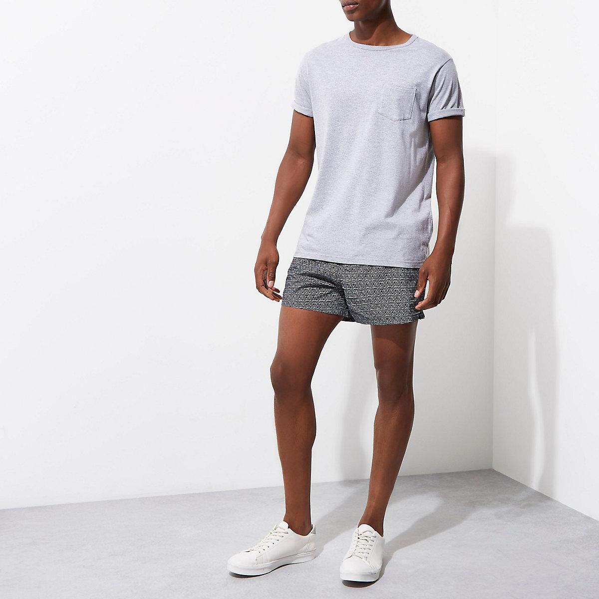 Black geo print short swim shorts