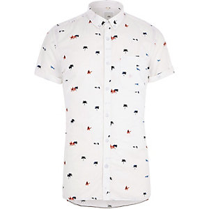 White desert slim fit short sleeve shirt