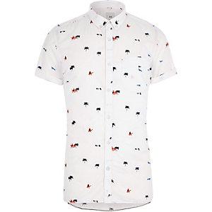 Weißes Slim Fit Kurzarmhemd